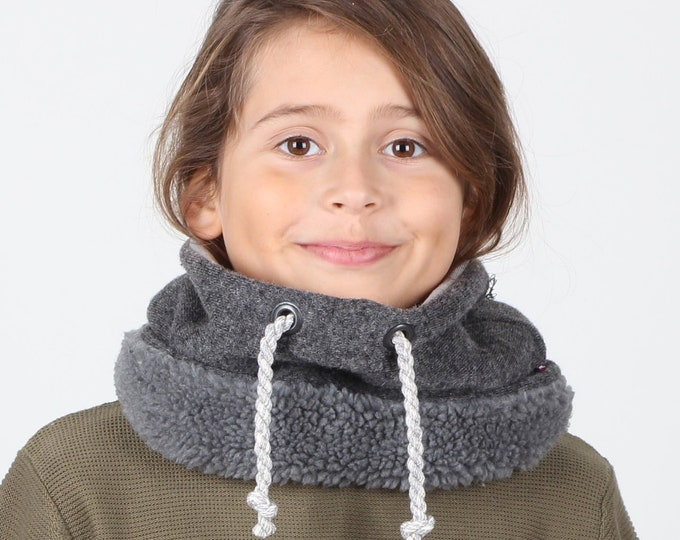 winter scarf for preteens or neck gaiter - lined with super soft cotton and faux lamb