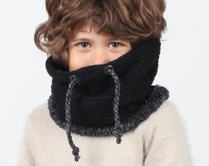 Kids snood or neck warmer in super stylish black ribbed wool
