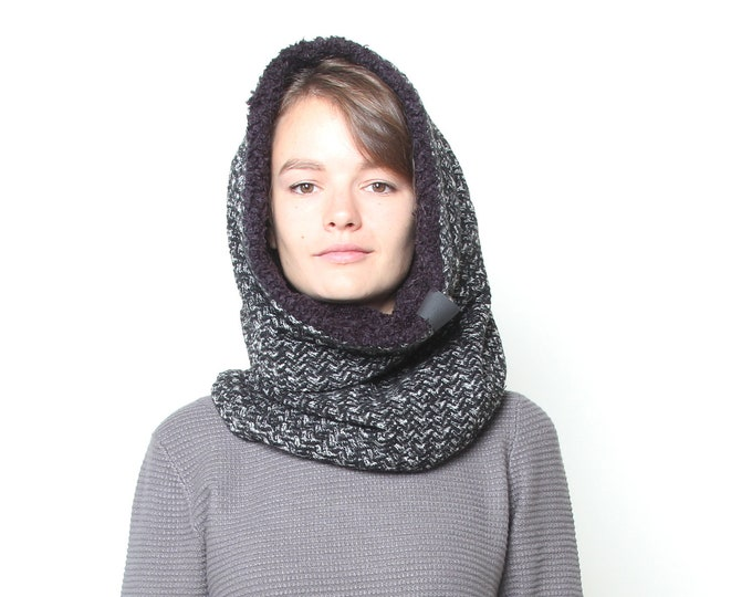 super warm black and white herringbone wool knit cowl - fully lined