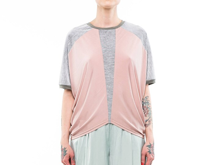 Pastel pink draped top, summer top, dressy casual top, oversized shirt