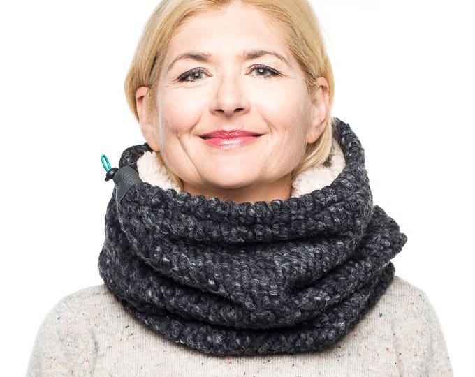 Cowl scarf Chunky knit cowl scarf, Snock, grey wool knit