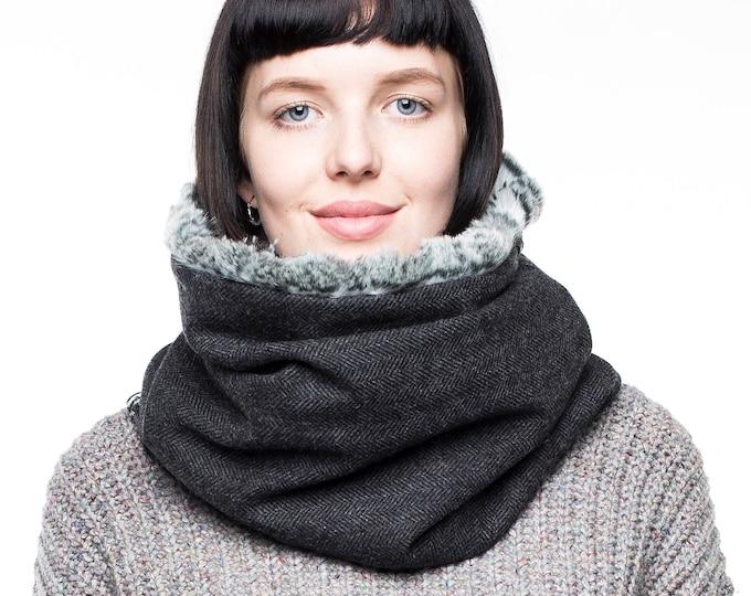 Faux fur accessory, faux fur cowl, fur lined scarf