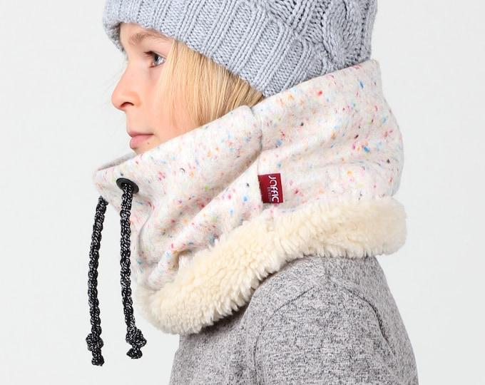 "The ""Pressed Unicorn"" in Italian confetti wool, kids neck warmer"