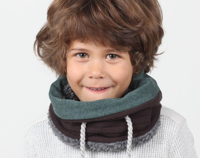 Lined wool neck warmer for kids or neck gaiter - lined with super soft cotton and faux lamb