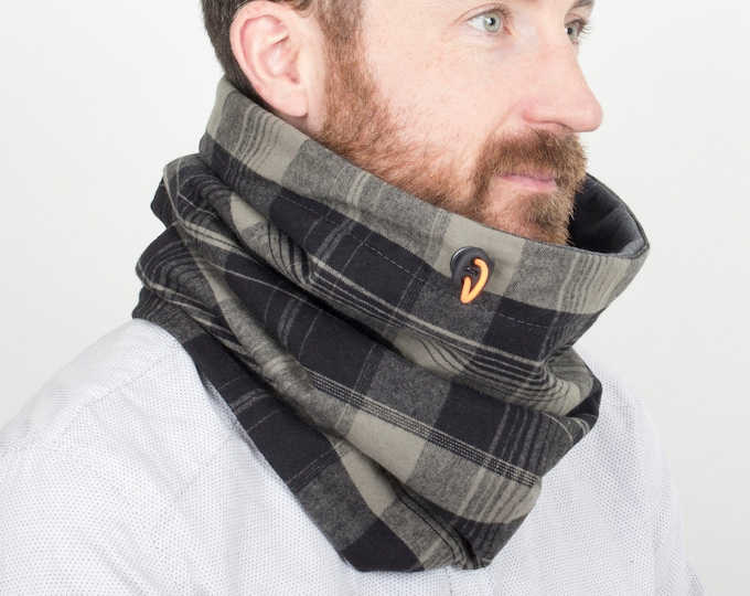 Vegan Hooded Scarf in green and black tartan