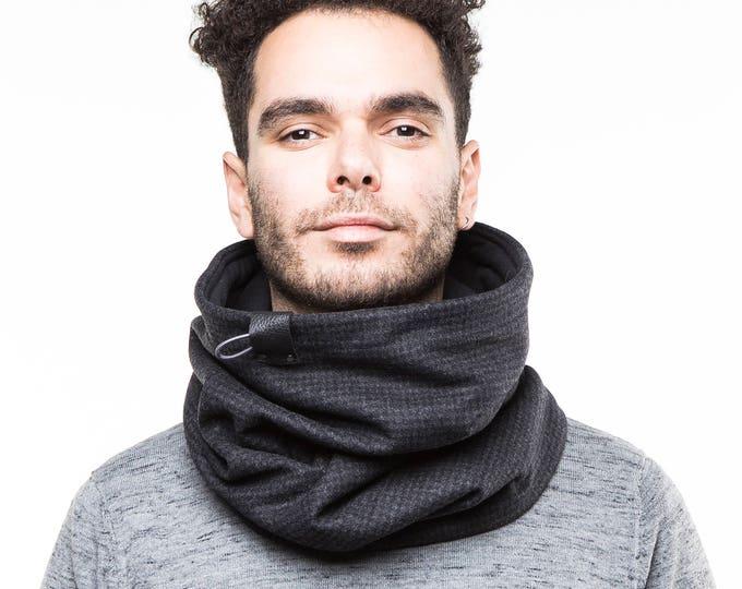 Mens cowl scarf,  scarf mens, grey wool scarf in dark grey wool