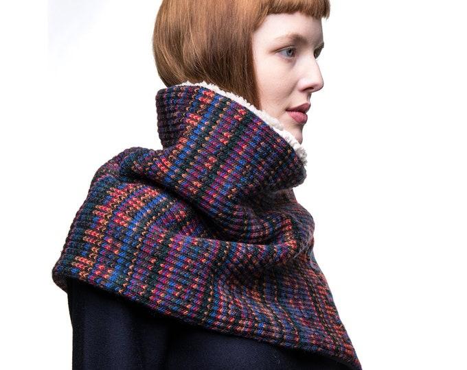 Nordic pattern poncho, wool capulet, wool knit poncho