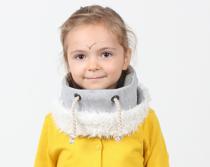 winter cotton scarf for kids lined with faux lamb for extra warmth