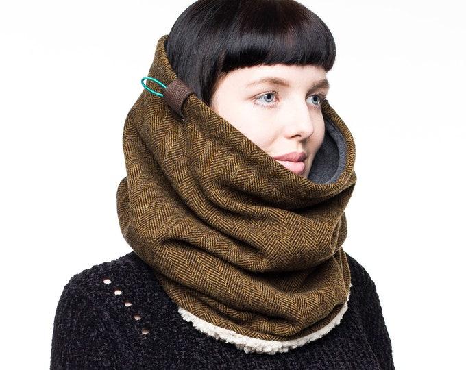 pure wool cowl scarf tweed scarf tweed cowl womens cowl mens scarf