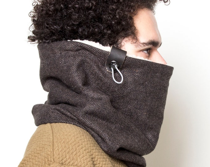 Dark Brown Men's Cowl Scarf, Men's Winter Scarf, Hooded Scarf, Chunky infinity Scarf with Faux Leather Cuff, Gift for Him, Christmas Gift
