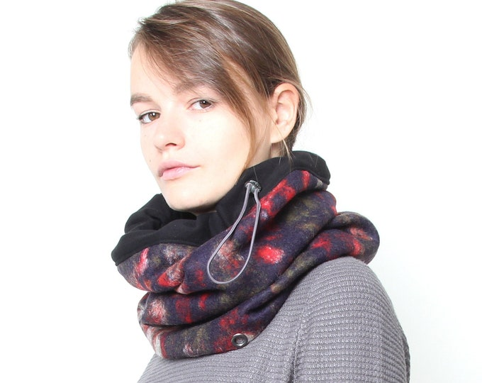 Hooded Cowl Scarf, Chunky Cowl Scarf, Snood Scarf, Infinity Wool Scarf, Roses Scarf, Women's Scarf, Unisex Warm Scarf, Christmas Gift Idea