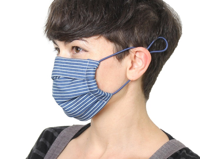 Super soft denim look cotton cloth face mask, mouth guard,  with HEPA filter, washable in summer style red stripes