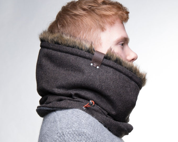 Fur lined mens cowl scarf unisex fur neck warmer with luxury faux fur lining
