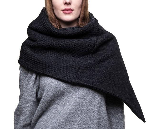 black wool capulet minimalist black poncho triangle scarf