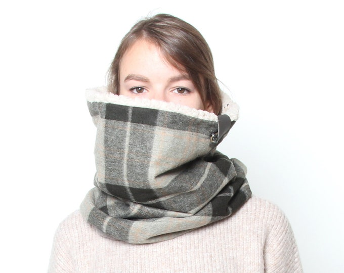 Beautiful shade of pastel green tartan wool hooded cowl lined with super soft faux lamb and cotton