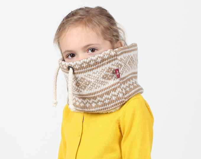 Kids unisex chunky knit cowl, or scarf in super cute nordic pattern
