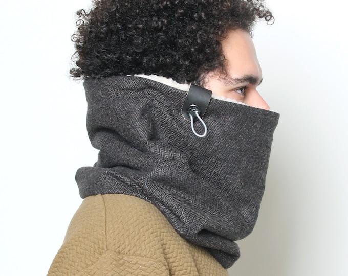 Mens' cowl scarf in dark brown herringbone tweed wool lined with ultra soft faux lamb