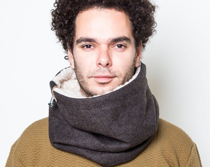 Mens' cowl scarf in dark brown herringbone tweed wool lined with ultra soft faux lamb