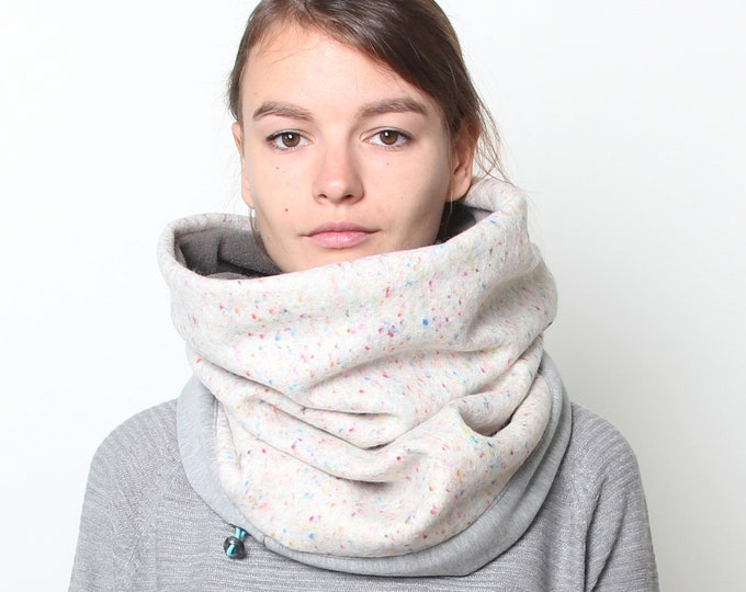 Pressed unicorn Italian wool cowl scarf lined with thick cotton