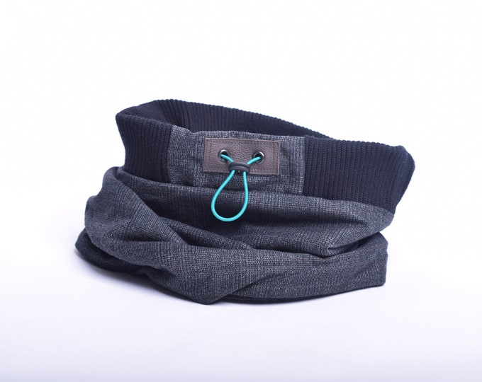 Outlet - checked dark grey wool cowl scarf with polar fleece lining
