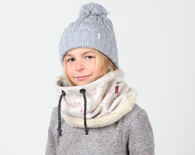 Children's neck warmer or cowl in 'Pressed Unicorn' Italian wool lined with cotton