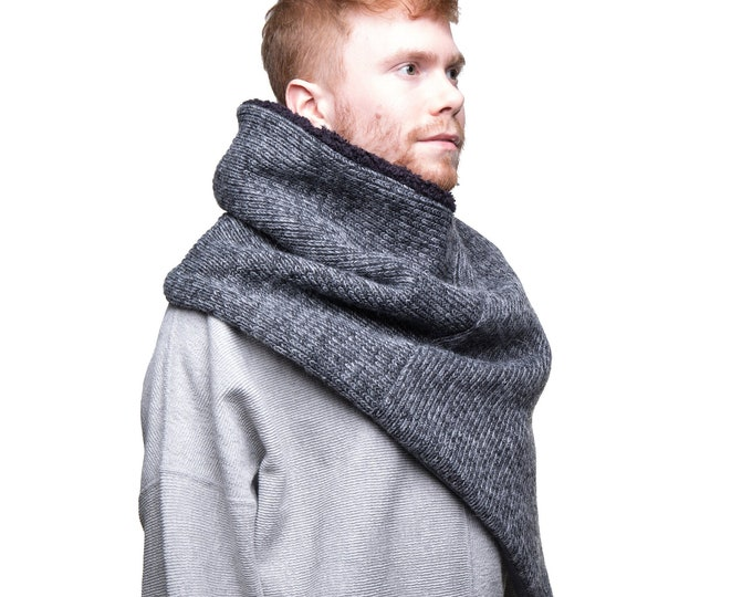men's chunky knit poncho, grey wool poncho, men's winter scarf