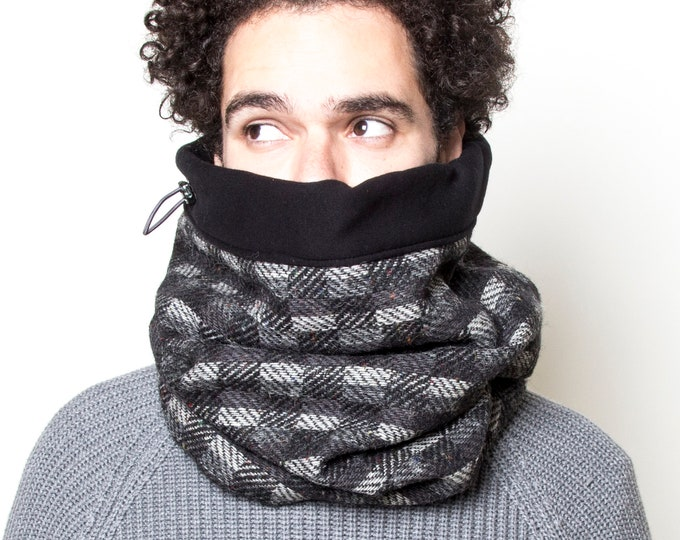Tweed wool scarf designed for biking -  fully lined with cotton