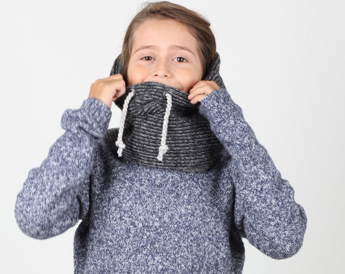 neck warmer for preteens or neck gaiter - lined with super soft cotton and faux lamb