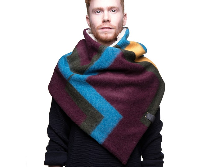 Minimalist poncho scarf in geometric design wool capulet lined
