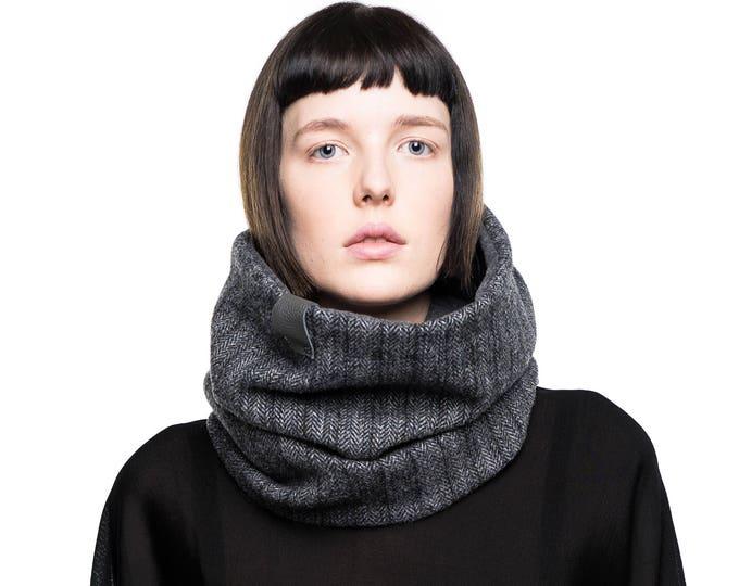 unisex cowl scarf, neck warmer, gift for him, men's gift, wool tweed scarf, herringbone accessories