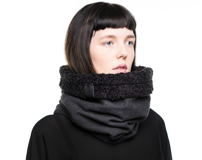 Dark grey winter accessory in wool with faux lamb and cotton lining
