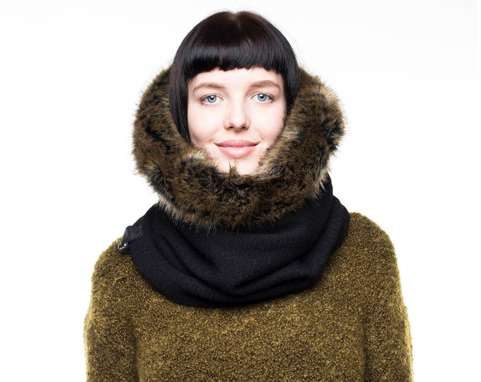 Hooded fur cowl, fur scarf, fur cowl, black wool lined with luxury faux fur