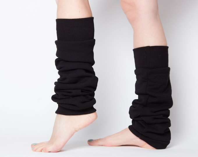cotton black leg warmers for lounging or activities - very soft