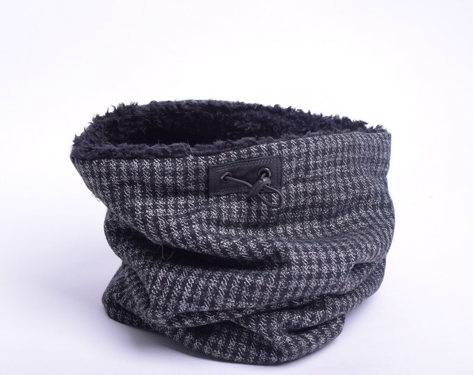 Outlet - grey tartan wool cowl scarf with faux lamb lining, hooded cowl