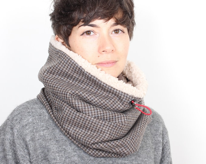 Outlet - light brown wool tweed cowl lined with faux lamb
