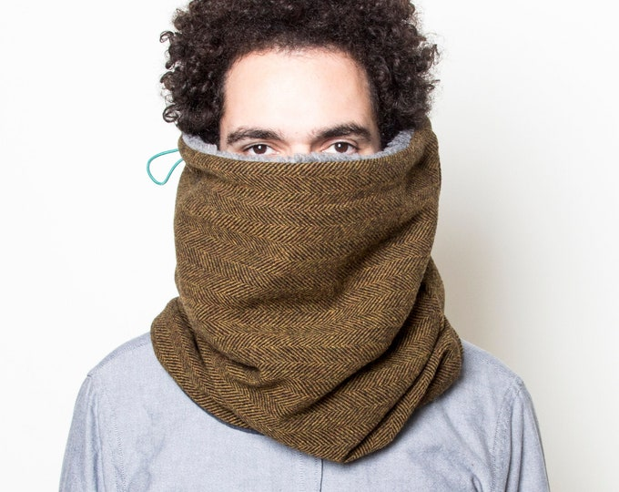 Hooded Cowl Scarf, Stylish Tweed Scarf, Super Warm Scarf, Men's Scarf, Womens Scarf, Infinity Scarf, Snood Scarf, Gift for Him, Gift for Her