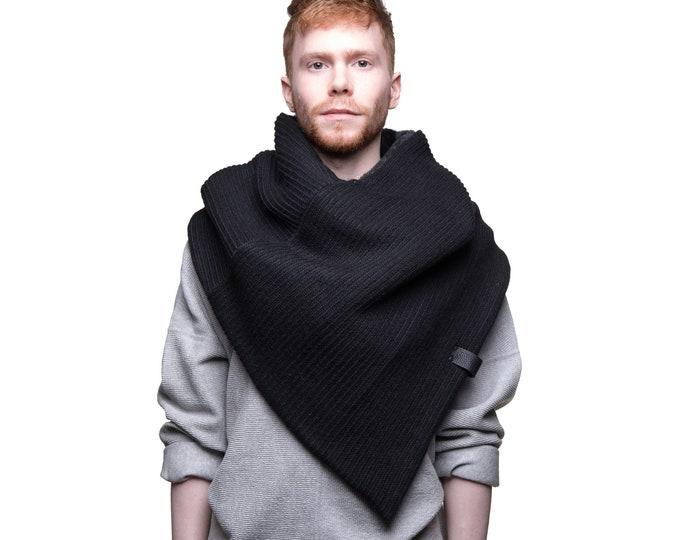 unisex wool capulet minimalist poncho scarf in black