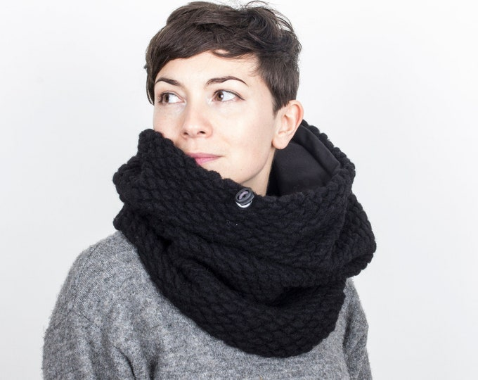 chunky knit wool cowl in black cotton lining, hooded cowl, snood - Outlet