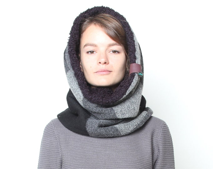 Black and grey geometric wool hooded cowl lined with super warm faux black lamb