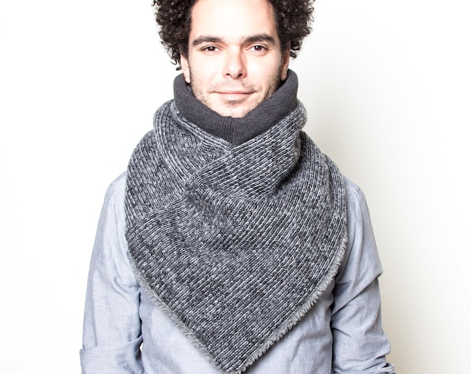 Wool Knit Scarf, Triangle Scarf, Adjustable Scarf, Super Warm Scarf, UNISEX Cowl Scarf, Modern Wool Scarf, Gift for Him, Gift for Her