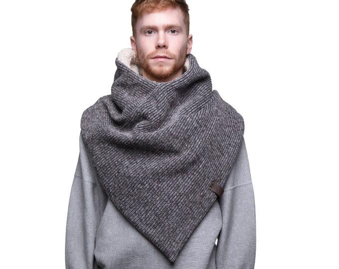 mens winter wool poncho, poncho scarf, men's triangle scarf