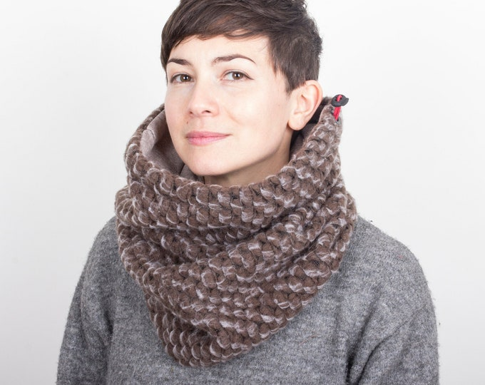 chunky knit wool cowl in dark camel lined with melange oatmeal cotton
