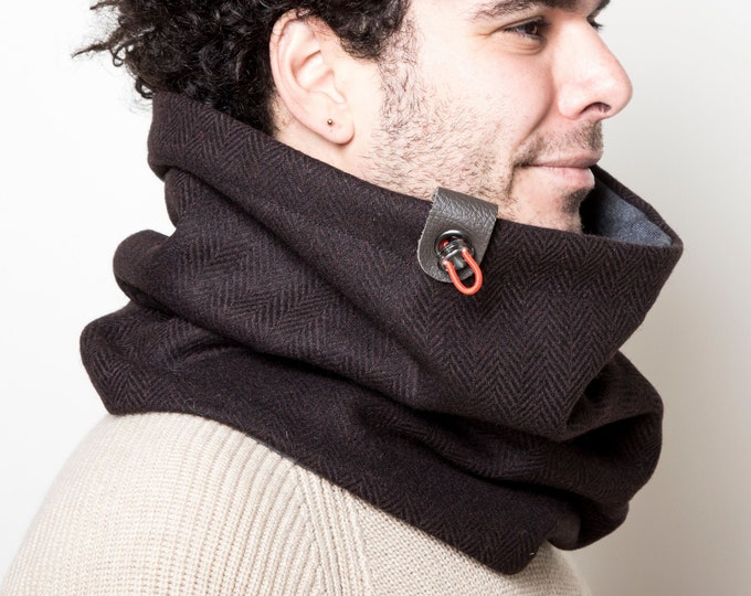 mens scarf, tube scarf, loop scarf, wool cowl,  in brown  herringbone tweed wool