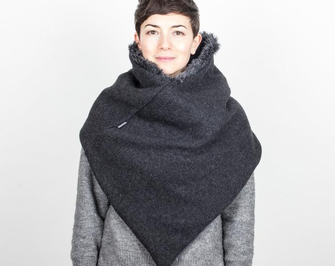 chunky knit poncho, triangle knit scarf, dark grey poncho, thick winter poncho
