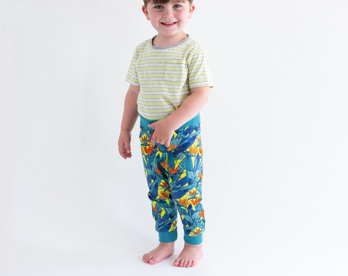 Unisex kids harem pants, drop crotch trousers, colourful neon tropical print