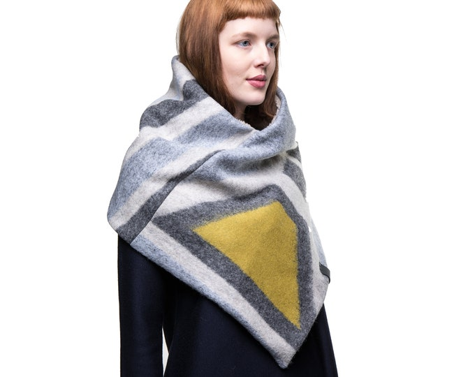 Triangle scarf wool, warm winter poncho, gift for her