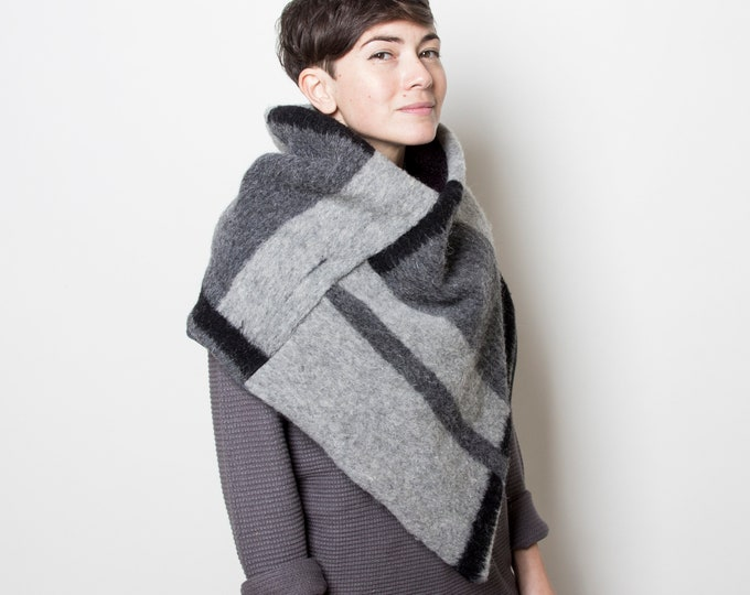 Minimalist poncho scarf in geometric design, wool capulet lined