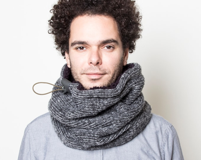 Great gift for men, grey chunky knit wool cowl scarf or neck warmer lined with soft faux lamb