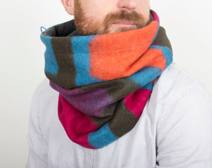 Hooded cowl in unique,  stylish and vibrant Italian wool, snood, wool snood, chunky snood
