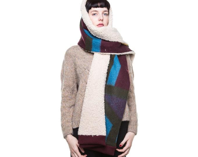 XXL scarf super cozy blarf  faux lamb blanket scarf oversized scarf
